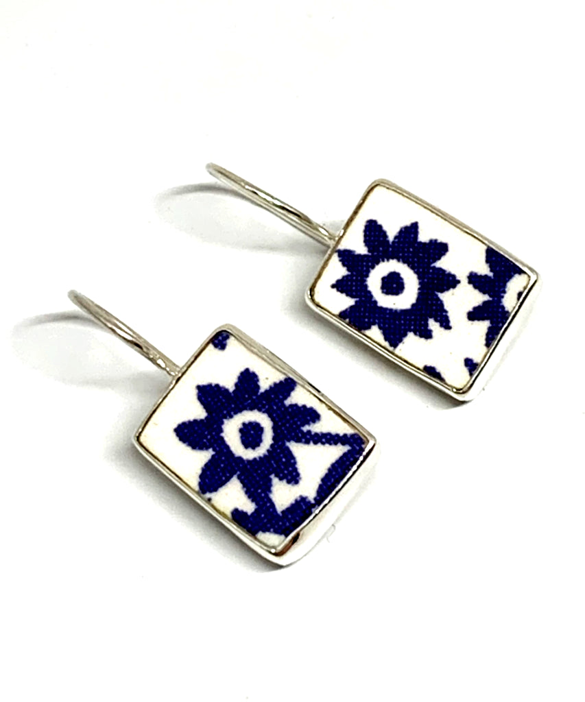 Blue & White Flower Rectangle Shape Vintage Pottery Single Drop Earrings