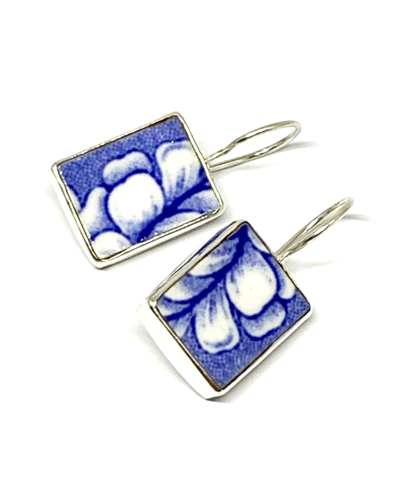Blue & White Petal Patterned Vintage Pottery Single Drop Earrings