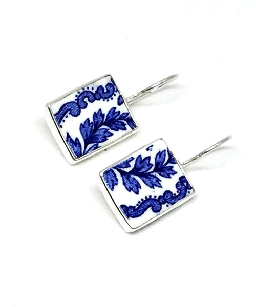 Blue & White Leaf Garland Vintage Pottery Single Drop Earrings