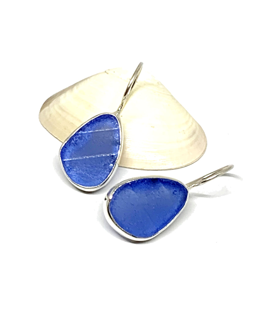 Textured Blue Sea Glass Natural Shape Single Earrings