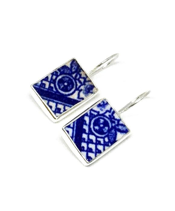 Blue & White Geometric Vintage Pottery Single Drop Earrings