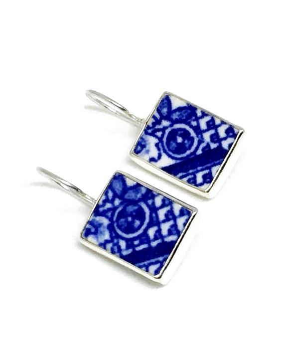 Blue and White Graphic Vintage Pottery Single Drop Earrings