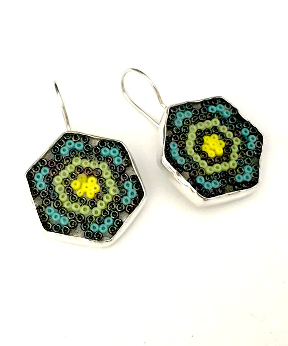 Black, Aqua, Green & Yellow Fused Seed Bead Earrings