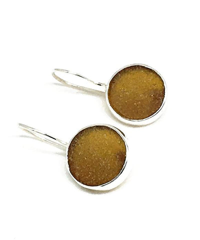 Brown Round Sea Glass Single Drop Earrings