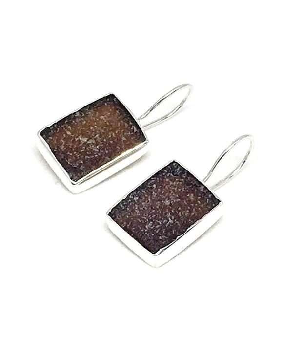 Dark Brown Rectangle Sea Glass Single Drop Earrings