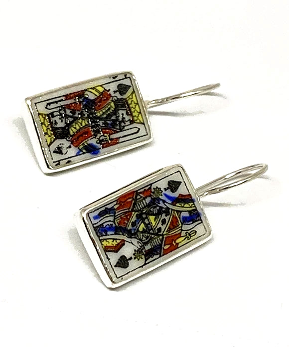 King & Queen Of Spades Vintage Pottery Single Drop Earrings
