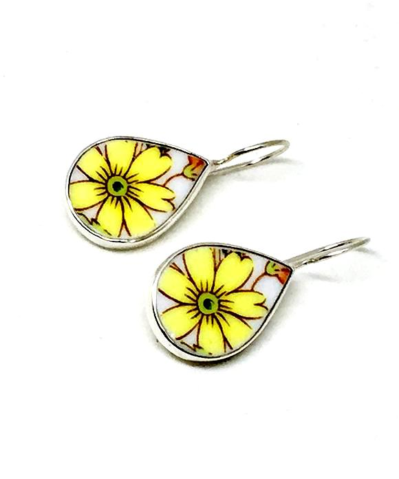Yellow Daisy Vintage Pottery Single Drop Earrings