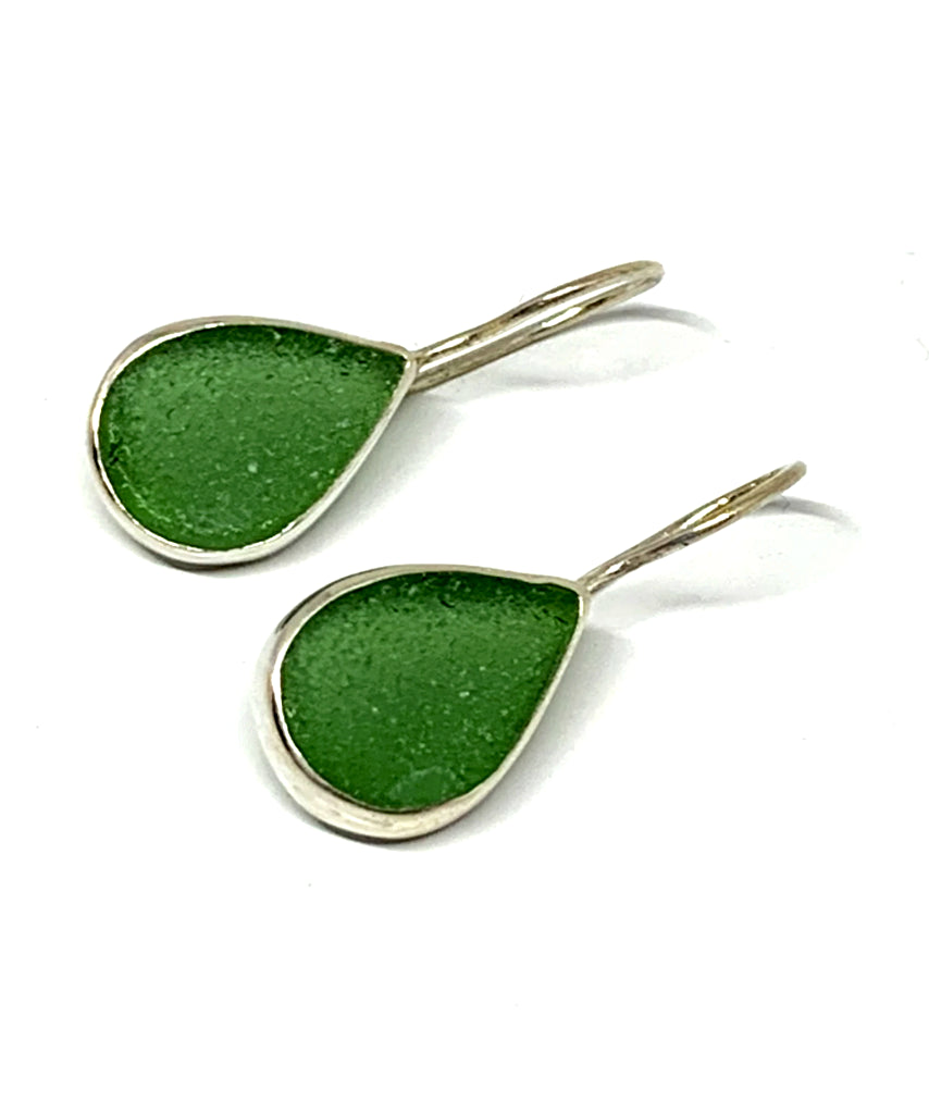 Dark Green Sea Glass Teardrop Shape Single Earrings
