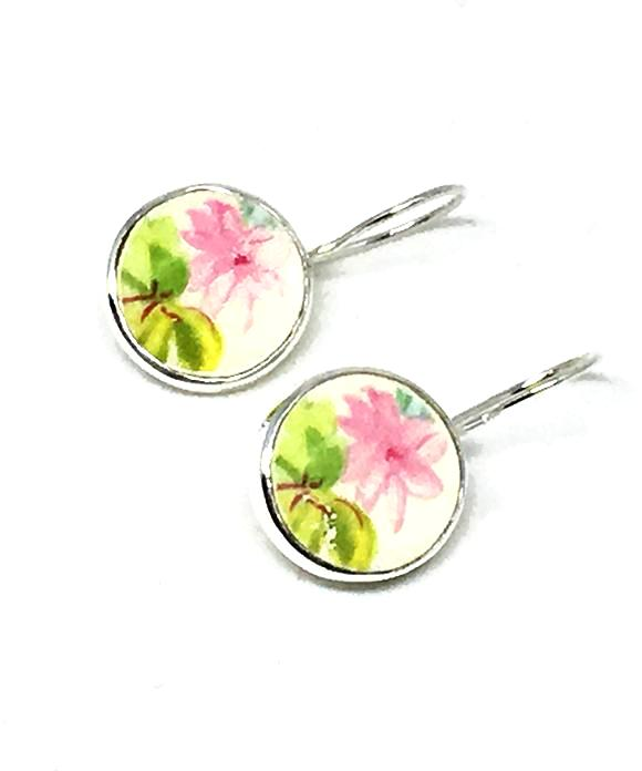 Green & Pink Flower Round Vintage Pottery Single Drop Earrings