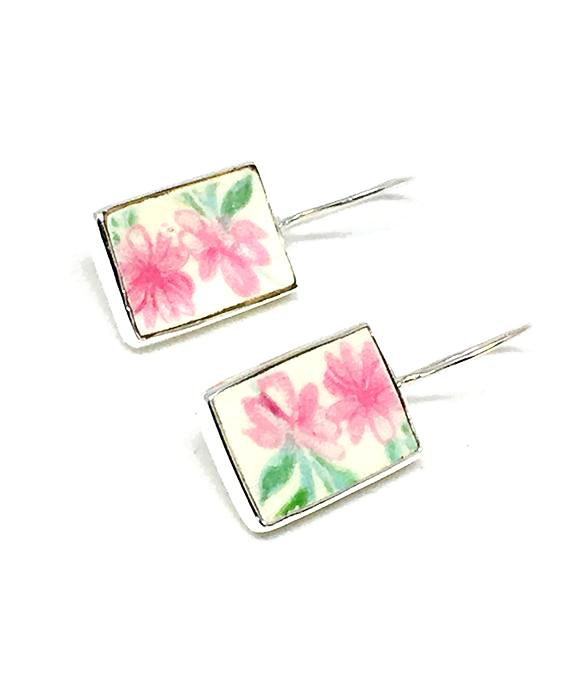 Double Pink Flower Rectangle Vintage Pottery Single Drop Earrings