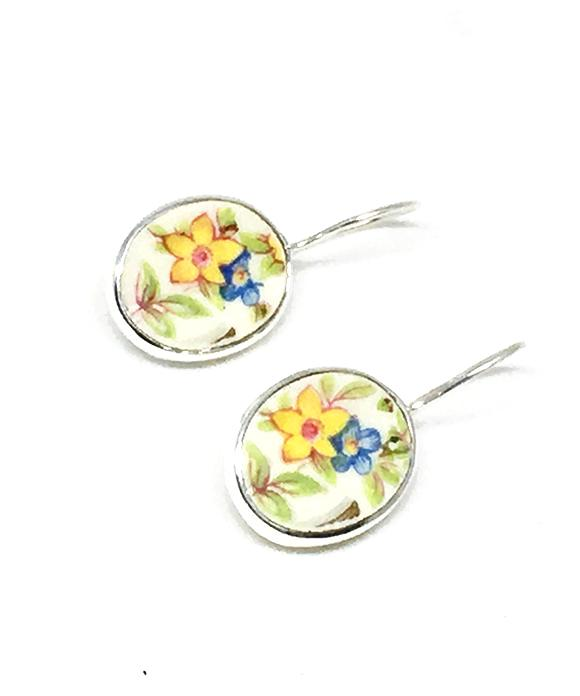Yellow and Blue Floral Oval Vintage Pottery Single Drop Earrings