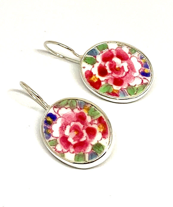 Bright Pink Flower Vintage Pottery Single Drop Earrings