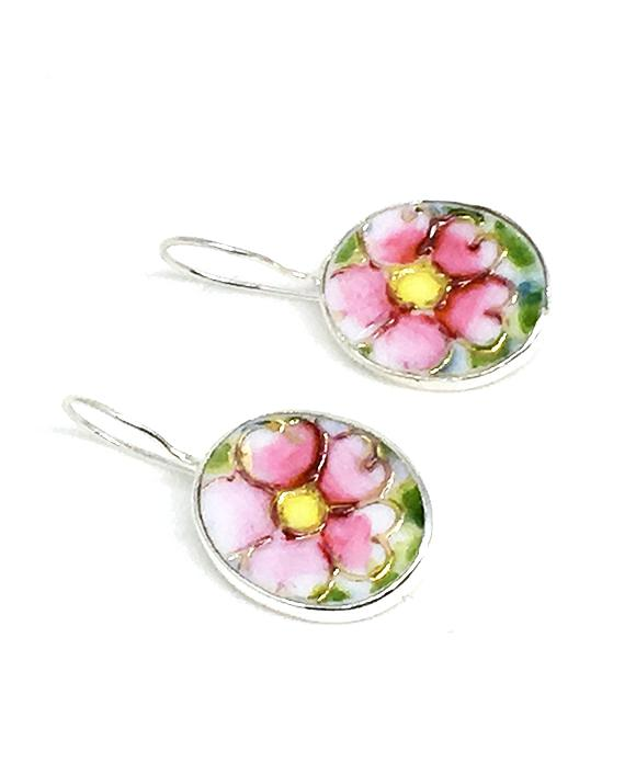 Textured Pink & Yellow Floral Oval Vintage Pottery Single Drop Earrings