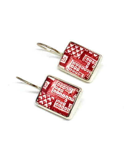 Red & White Rectangle Vintage Pottery Single Drop Earrings