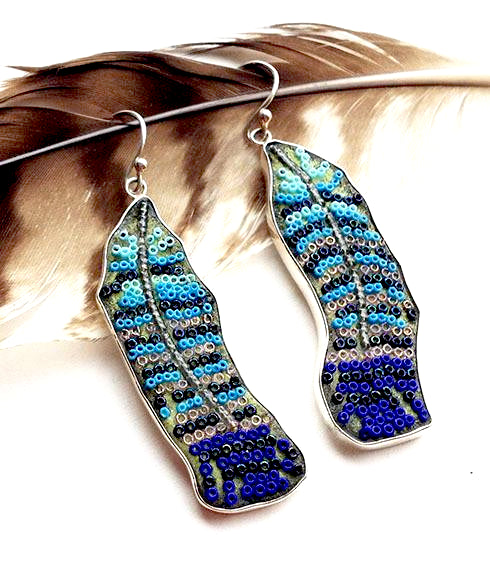 Blue Aqua and Grey Beaded Fused Glass Feather Earrings