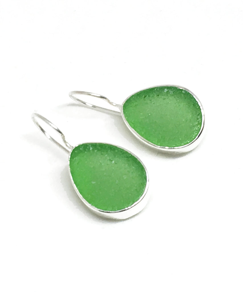 Green Natural Shape Sea Glass Single Drop Earrings