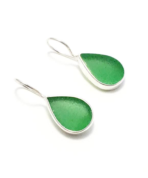 Green Sea Glass Teardrop Single Drop Earrings