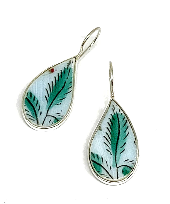 Large Green and Aqua Leaf Vintage Pottery Single Drop Earrings