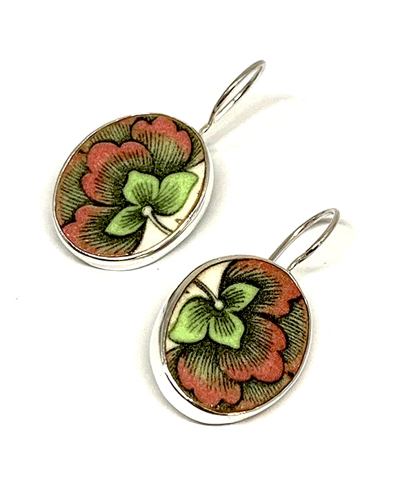 Green & Pink Flower Vintage Pottery Single Drop Earrings