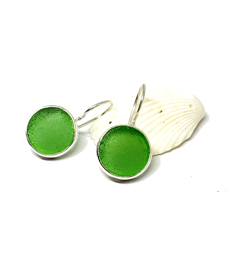 Green Sea Glass Round Shape Single Earrings