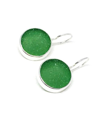 Green Sea Glass Round Earrings