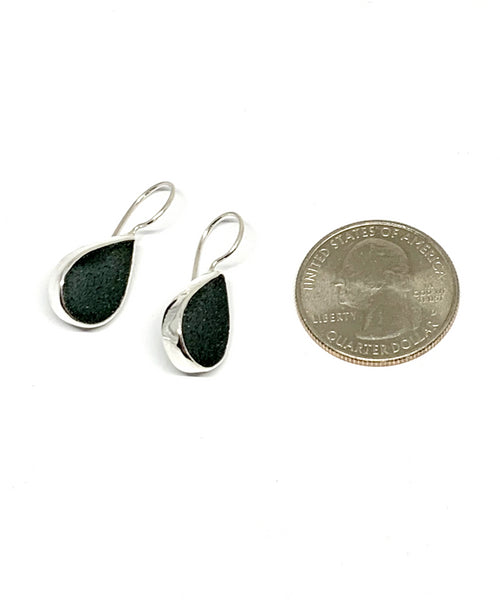 Light Grey Sea Glass Round Earrings