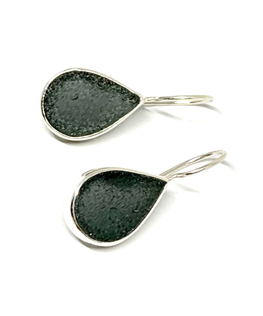Dark Grey Sea Glass Teardrop Shape Single Earrings