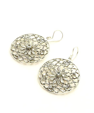 Antique Lace Cast in Sterling Silver with Faceted Blue Topaz Stone Earrings