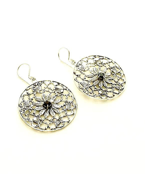 Antique Lace Cast in Sterling Silver with Faceted Iolite Stone Earrings