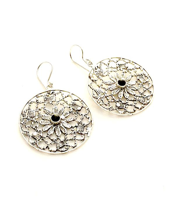 Antique Lace Cast in Sterling Silver with Black Onyx Stone Earrings
