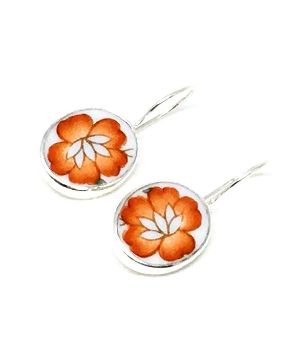 Bright Orange Flower Oval Vintage Pottery Single Drop Earrings