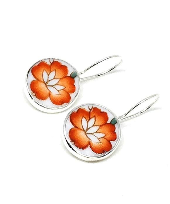 Bright Orange Flower Round Vintage Pottery Single Drop Earrings