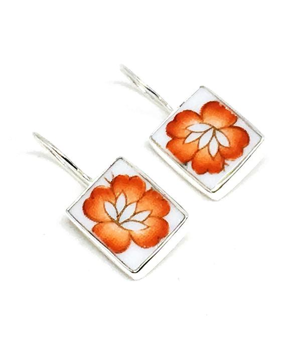 Bright Orange Flower Rectangle Vintage Pottery Single Drop Earrings