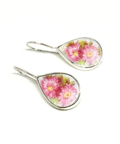 Pink Flowers Teardrop Vintage Pottery Single Drop Earrings