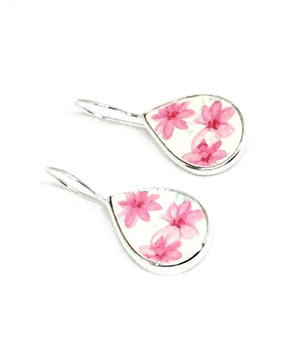 Pink Flower Teardrop Vintage Pottery Single Drop Earrings