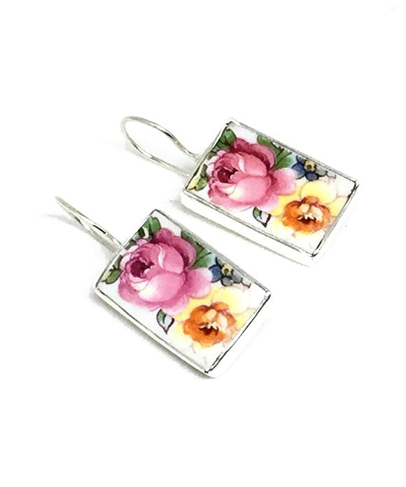 Large Pink & Yellow Floral Rectangle Vintage Pottery Single Drop Earrings