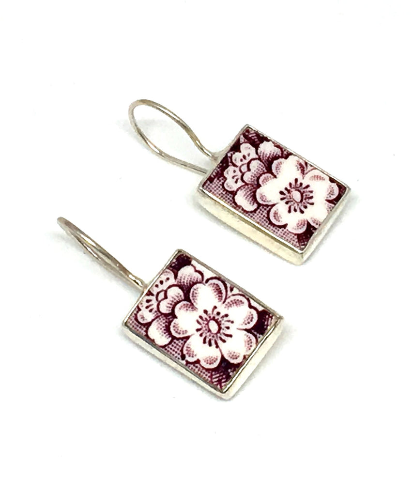 Purple & White Flower Vintage Pottery Single Drop Earrings