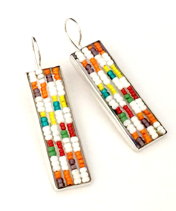 Large Red, Green, Yellow & White Fused Seed Bead Earrings