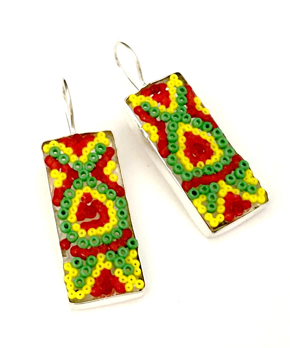 Large Red, Green & Yellow Fused Seed Bead Earrings