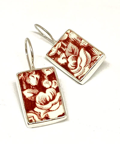 Red & White Teardrop Vintage Pottery Single Drop Earrings