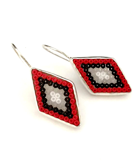 Red, Black, Grey & White Fused Seed Bead Diamond Shape Earrings