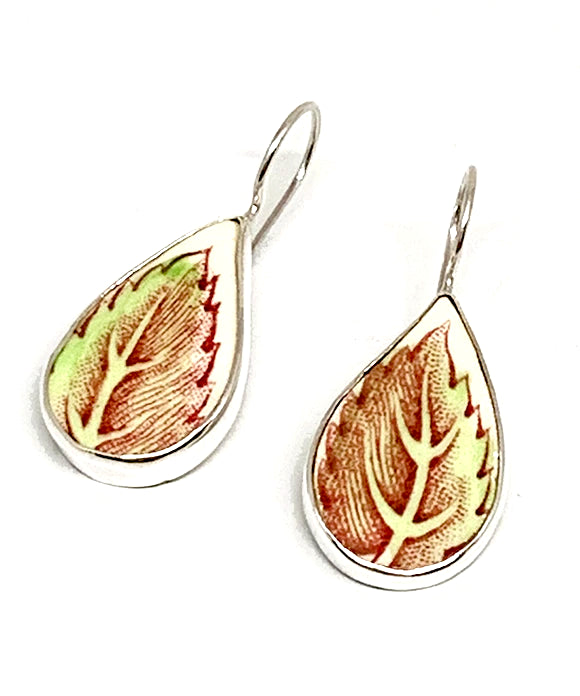 Large Red & Green Leaf Vintage Pottery Single Drop Earrings