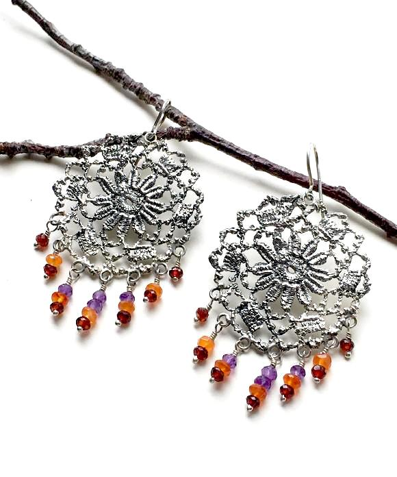 Antique Lace Cast in Sterling Silver with Amethyst, Carnelian and Garnet Fringe Earrings