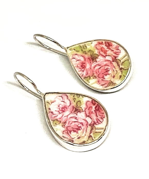 Soft Pink Roses Vintage Pottery Single Drop Earrings