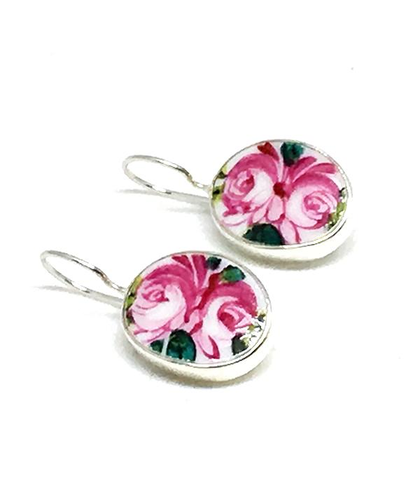Double Pink Roses Oval Vintage Pottery Single Drop Earrings