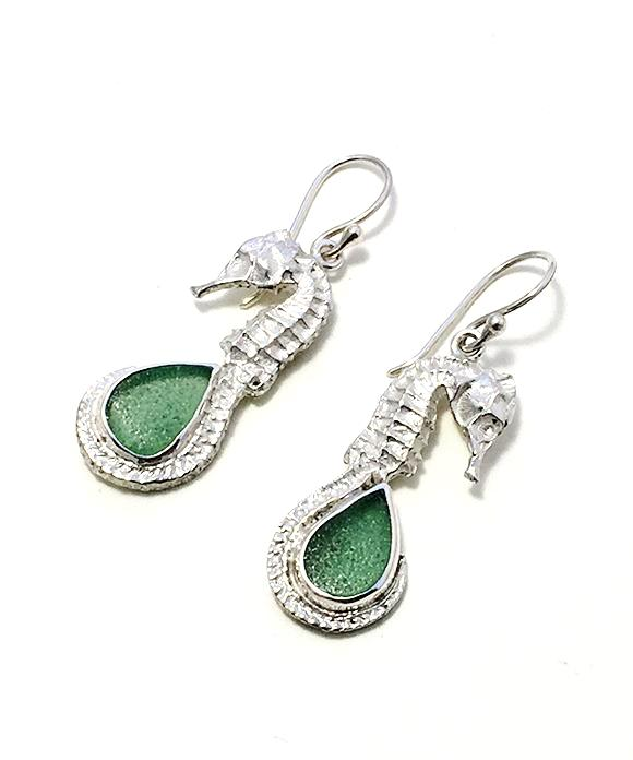 Sea Horse and Soft Green Sea Glass Earrings