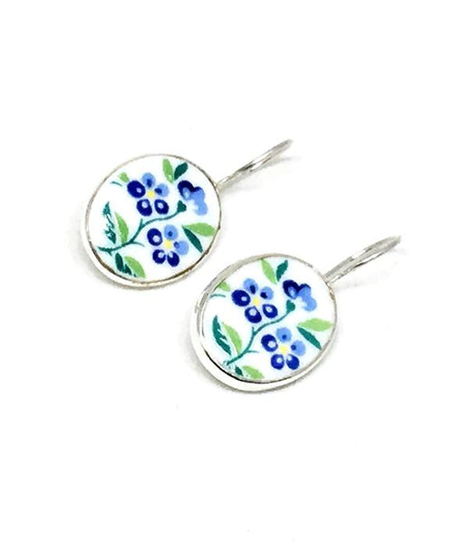 Little Blue Flowers Vintage Pottery Single Drop Earrings