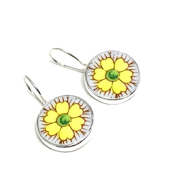 Round Yellow Flower Vintage Pottery Single Drop Earrings