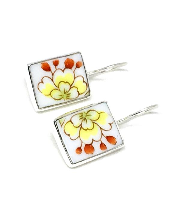 Yellow & Orange Flower Vintage Pottery Single Drop Earrings