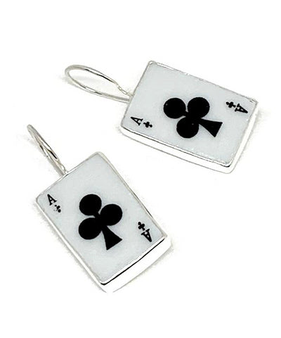 Ace of Clubs Playing Card Vintage Pottery Single Drop Earrings